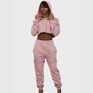 Pants - Two Piece Sweatsuit Pink